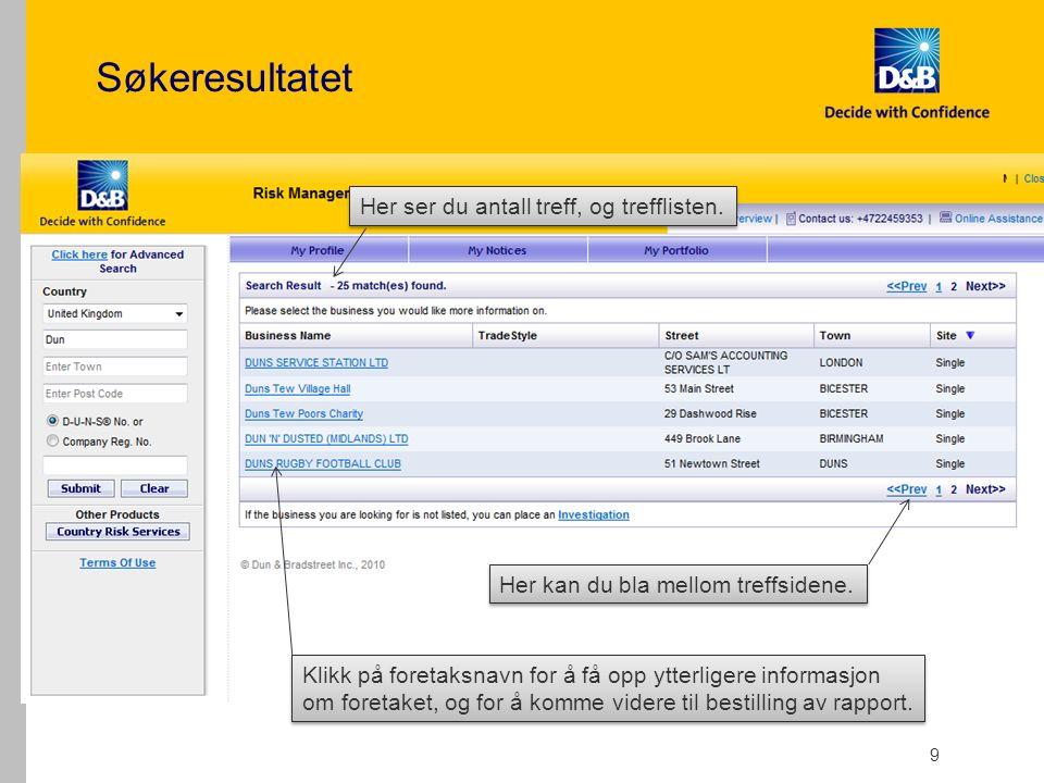Bestilling av en kredittrapport 10 1.Bildet viser grunndata på foretaket.