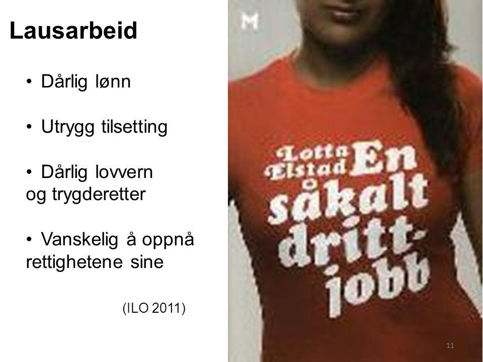 Dårlig lønn Utrygg tilsetting Dårlig lovvern og trygderetter Vanskelig å oppnå rettighetene sine (ILO 2011) Lausarbeid 11