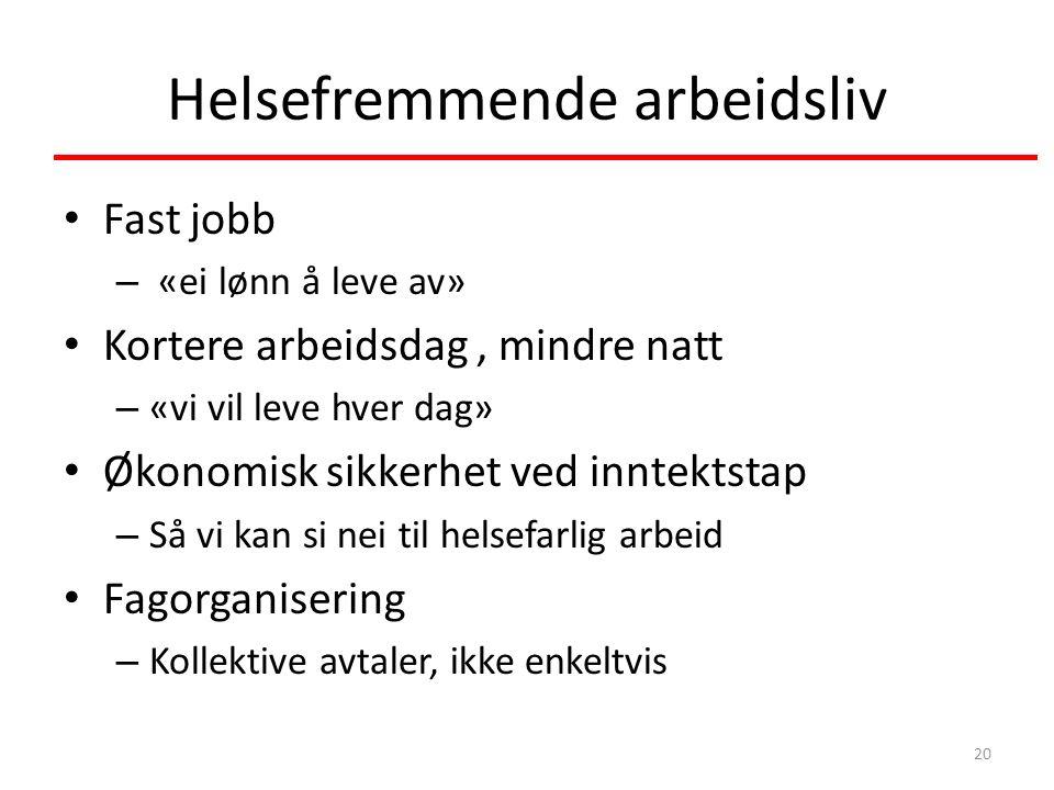 Helsefremmende arbeidsliv Fast jobb – «ei lønn å leve av» Kortere arbeidsdag, mindre natt – «vi vil leve hver dag» Økonomisk sikkerhet ved inntektstap – Så vi kan si nei til helsefarlig arbeid Fagorganisering – Kollektive avtaler, ikke enkeltvis 20