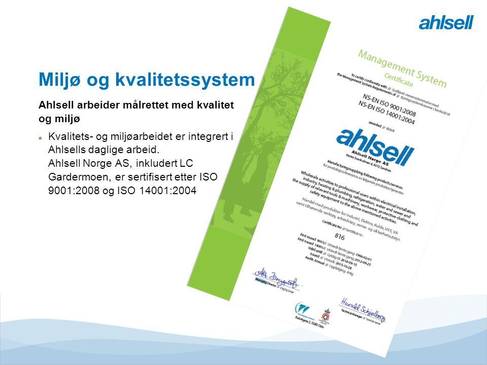 Tjänster & MervärdenLogistikcentrumButikE-handelRegionerEMV Divisioner Ahlsell Miljø og kvalitetssystem Ahlsell arbeider målrettet med kvalitet og miljø Kvalitets- og miljøarbeidet er integrert i Ahlsells daglige arbeid.