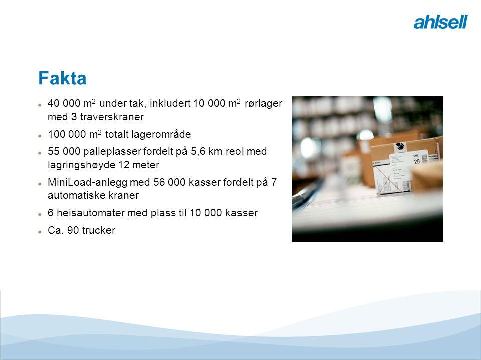 Tjänster & MervärdenLogistikcentrumButikE-handelRegionerEMV Divisioner Ahlsell Fakta 40 000 m 2 under tak, inkludert 10 000 m 2 rørlager med 3 traverskraner 100 000 m 2 totalt lagerområde 55 000 palleplasser fordelt på 5,6 km reol med lagringshøyde 12 meter MiniLoad-anlegg med 56 000 kasser fordelt på 7 automatiske kraner 6 heisautomater med plass til 10 000 kasser Ca.