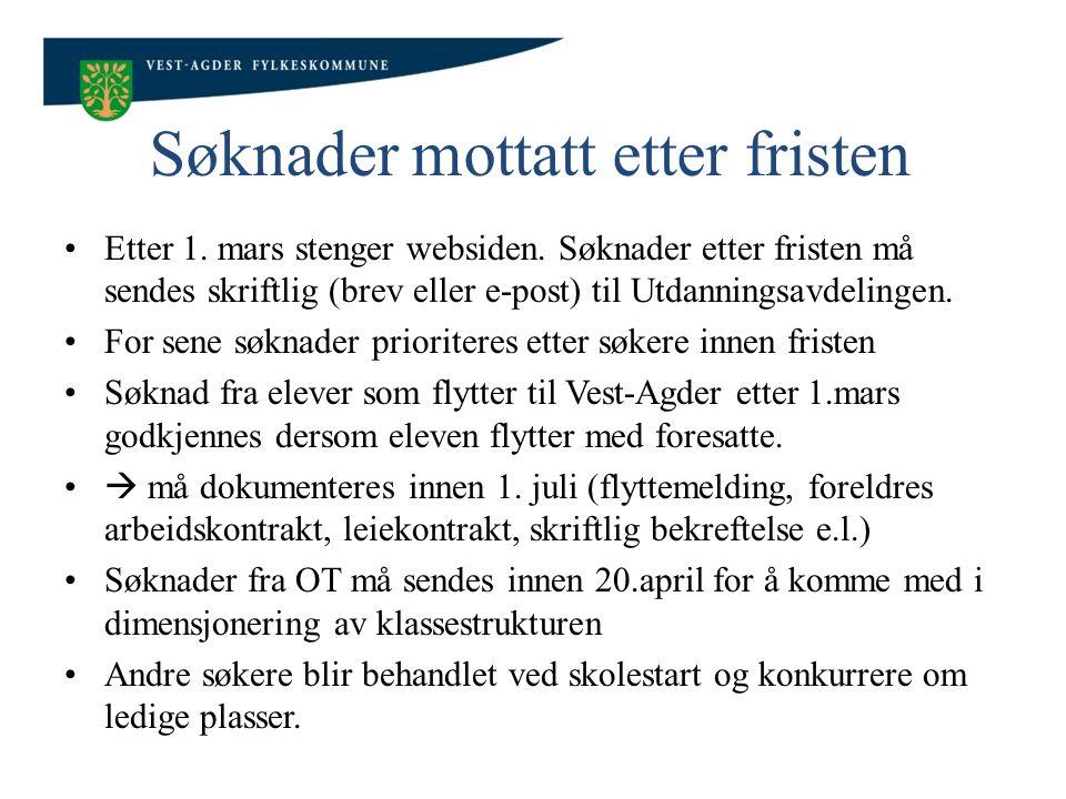 Søknader mottatt etter fristen Etter 1.mars stenger websiden.