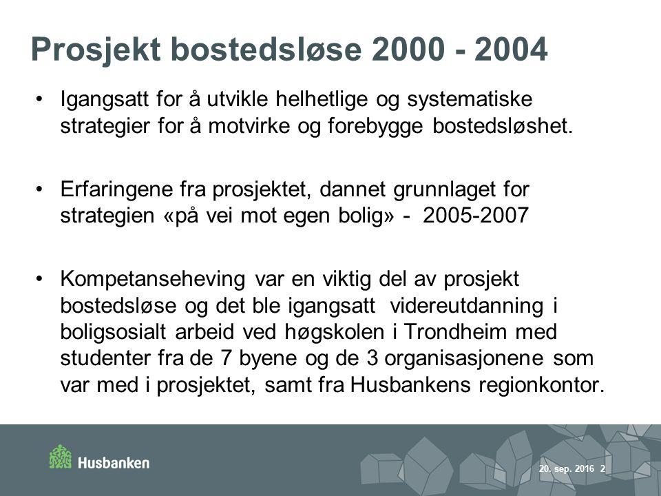 Prosjekt bostedsløse 2000 - 2004 Igangsatt for å utvikle helhetlige og systematiske strategier for å motvirke og forebygge bostedsløshet.