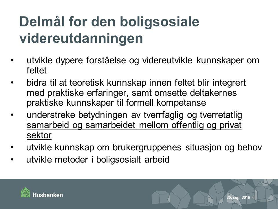 20.sep. 2016 7 Innhold i studiet (i samarbeid med UIN) Hva er boligsosialt arbeid.
