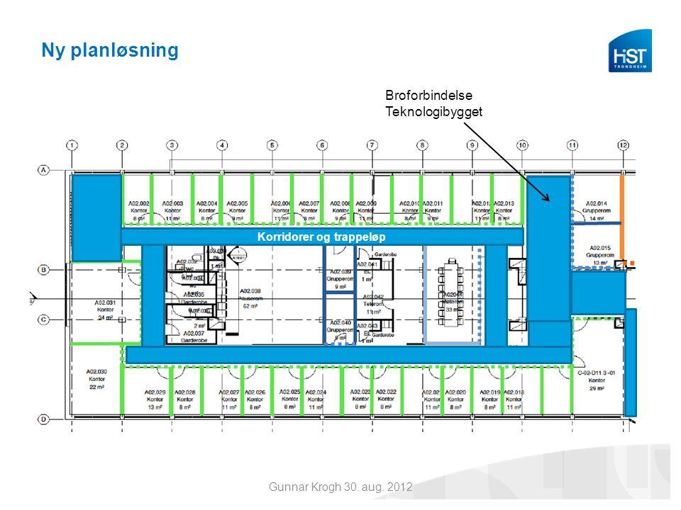 Ny planløsning Korridorer og trappeløp Broforbindelse Teknologibygget Gunnar Krogh 30. aug. 2012