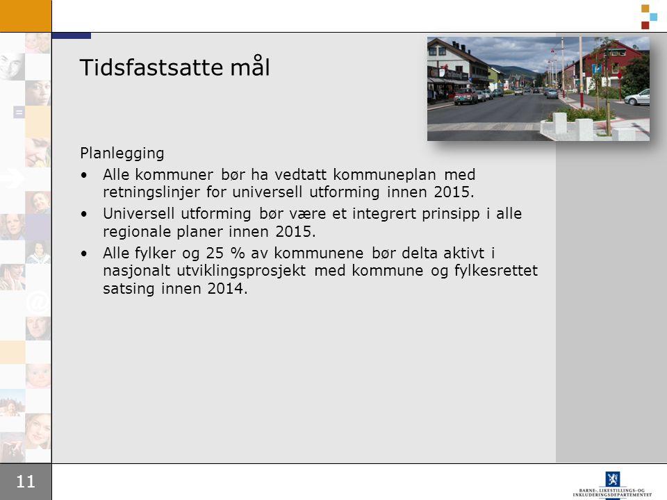 11 Tidsfastsatte mål Planlegging Alle kommuner bør ha vedtatt kommuneplan med retningslinjer for universell utforming innen 2015.