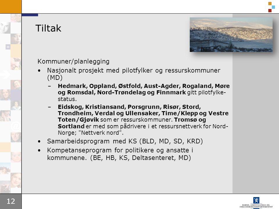 12 Tiltak Kommuner/planlegging Nasjonalt prosjekt med pilotfylker og ressurskommuner (MD) –Hedmark, Oppland, Østfold, Aust-Agder, Rogaland, Møre og Romsdal, Nord-Trøndelag og Finnmark gitt pilotfylke- status.