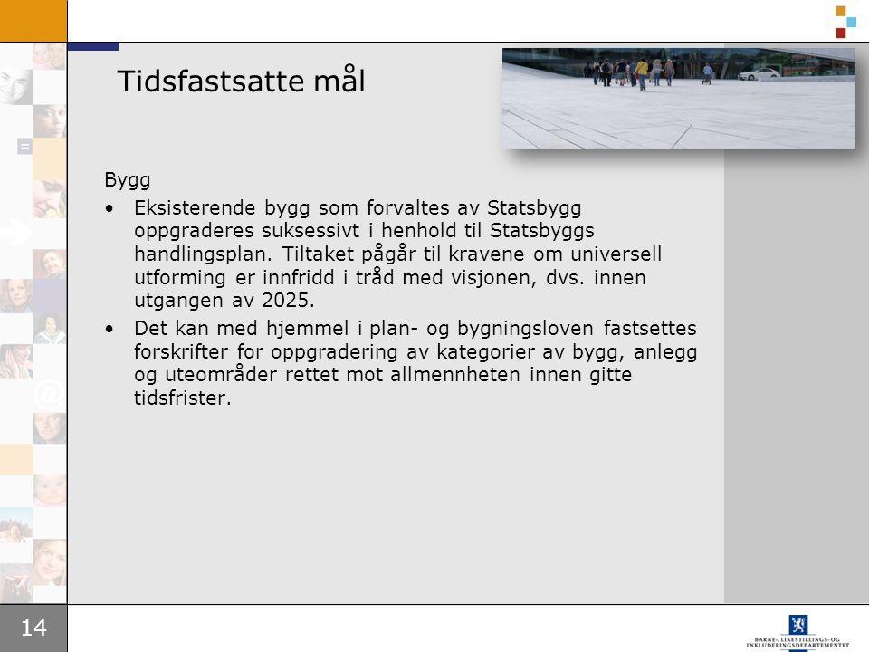 14 Tidsfastsatte mål Bygg Eksisterende bygg som forvaltes av Statsbygg oppgraderes suksessivt i henhold til Statsbyggs handlingsplan.