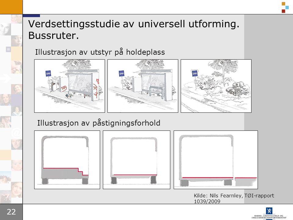 22 Verdsettingsstudie av universell utforming. Bussruter.