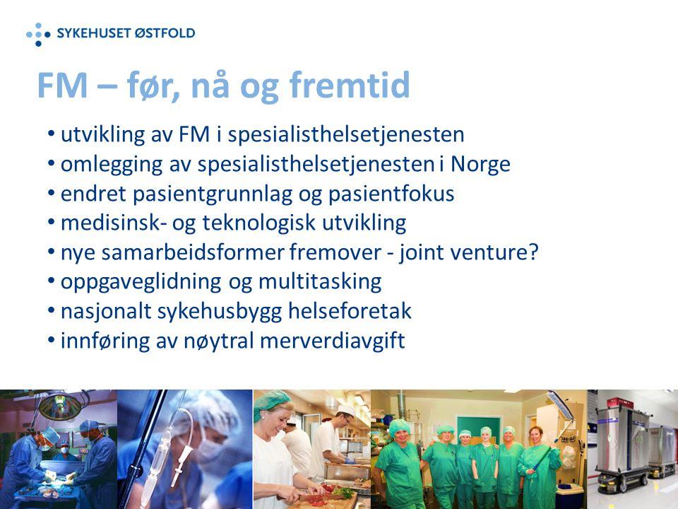 FM – før, nå og fremtid utvikling av FM i spesialisthelsetjenesten omlegging av spesialisthelsetjenesten i Norge endret pasientgrunnlag og pasientfokus medisinsk- og teknologisk utvikling nye samarbeidsformer fremover - joint venture.