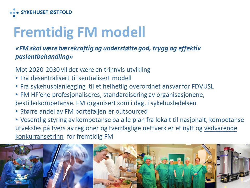 «FM skal være bærekraftig og understøtte god, trygg og effektiv pasientbehandling» Mot 2020-2030 vil det være en trinnvis utvikling Fra desentralisert til sentralisert modell Fra sykehusplanlegging til et helhetlig overordnet ansvar for FDVUSL FM HF'ene profesjonaliseres, standardisering av organisasjonene, bestillerkompetanse.
