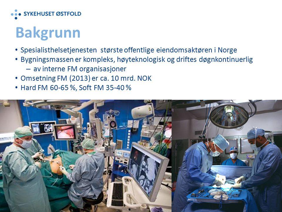 Spesialisthelsetjenesten største offentlige eiendomsaktøren i Norge Bygningsmassen er kompleks, høyteknologisk og driftes døgnkontinuerlig – av interne FM organisasjoner Omsetning FM (2013) er ca.