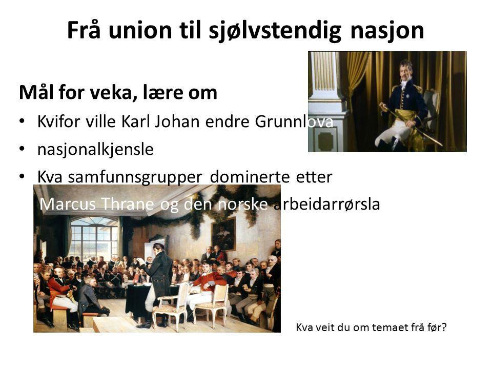 Frå union til sjølvstendig nasjon Mål for veka, lære om Kvifor ville Karl Johan endre Grunnlova nasjonalkjensle Kva samfunnsgrupper dominerte etter 1814 M Marcus Thrane og den norske arbeidarrørsla ( Kva veit du om temaet frå før