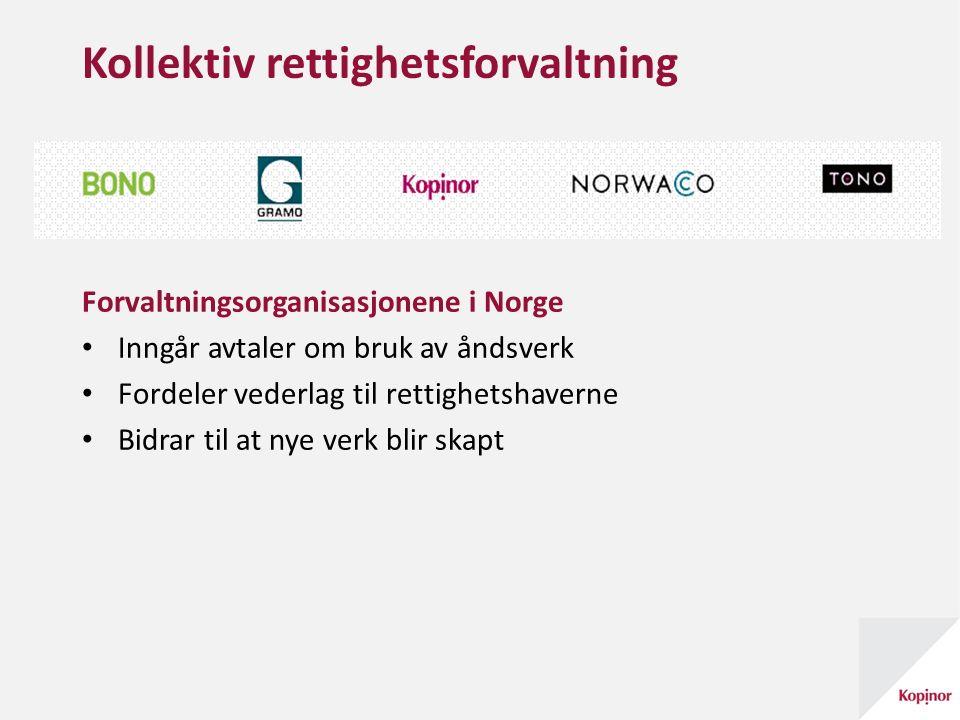 Kollektiv rettighetsforvaltning Forvaltningsorganisasjonene i Norge Inngår avtaler om bruk av åndsverk Fordeler vederlag til rettighetshaverne Bidrar til at nye verk blir skapt