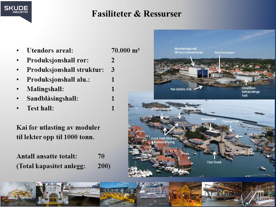 Fasiliteter & Ressurser Utendørs areal: 70.000 m² Produksjonshall rør: 2 Produksjonshall struktur: 3 Produksjonshall alu.: 1 Malingshall: 1 Sandblåsin