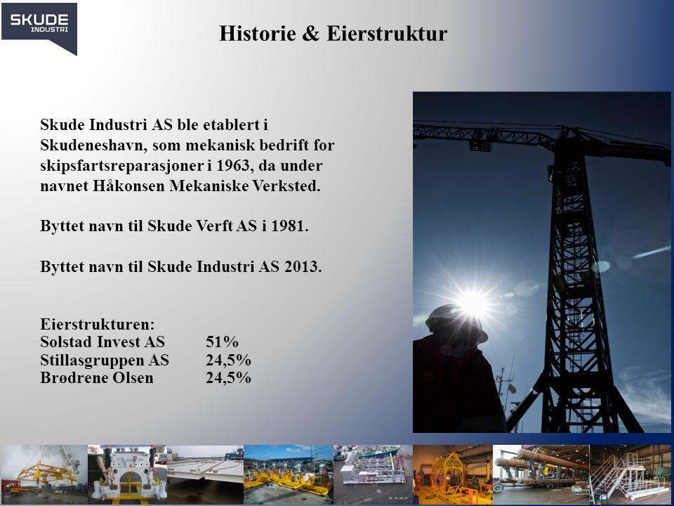 Historie & Eierstruktur Skude Industri AS ble etablert i Skudeneshavn, som mekanisk bedrift for skipsfartsreparasjoner i 1963, da under navnet Håkonse