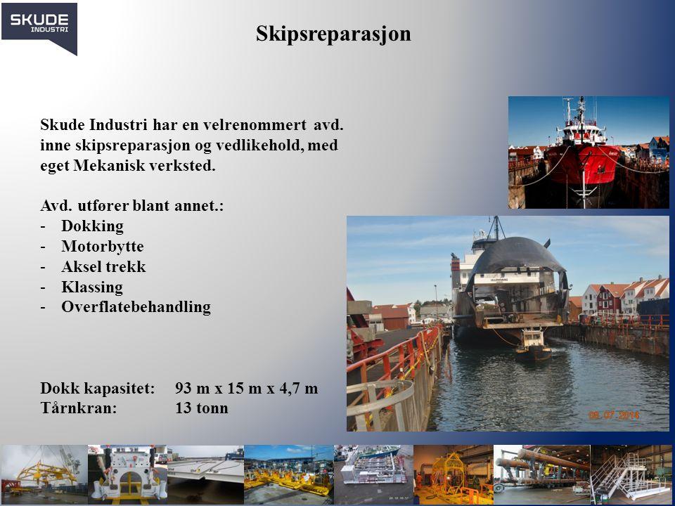 Skipsreparasjon Skude Industri har en velrenommert avd. inne skipsreparasjon og vedlikehold, med eget Mekanisk verksted. Avd. utfører blant annet.: -D