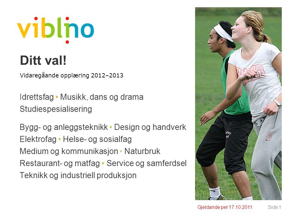 Gjeldande per 09.10.2010Side 12 Fag- og timefordeling - oversikt Yrkesf.Studief.
