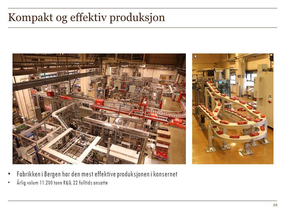 Kompakt og effektiv produksjon Fabrikken i Bergen har den mest effektive produksjonen i konsernet Årlig volum 11.200 tonn R&G, 22 fulltids ansatte 26
