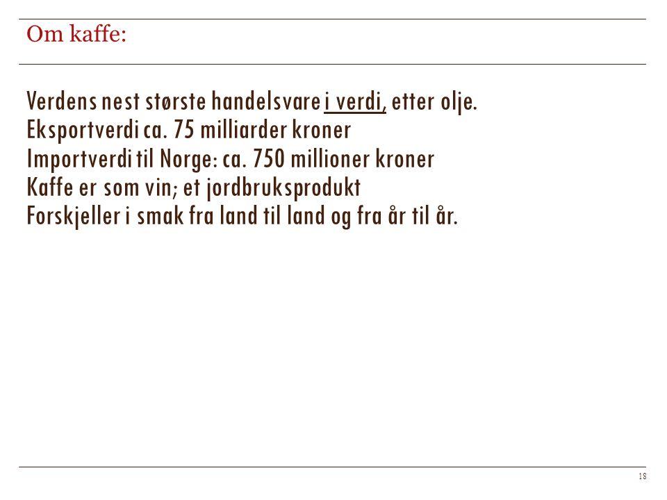 Om kaffe: 18 Verdens nest største handelsvare i verdi, etter olje. Eksportverdi ca. 75 milliarder kroner Importverdi til Norge: ca. 750 millioner kron