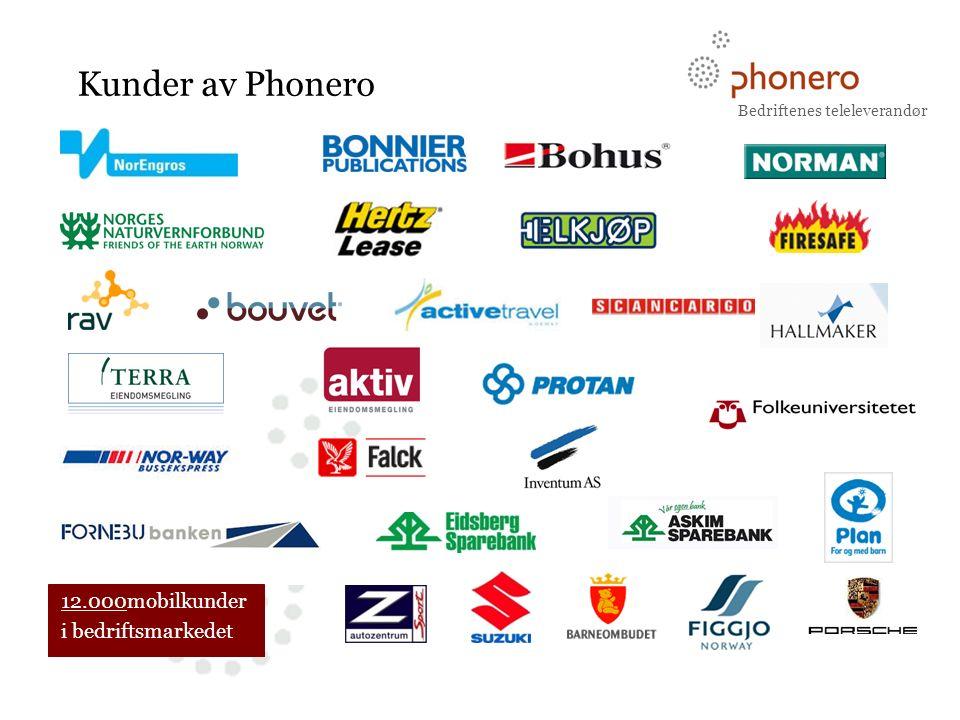 Bedriftenes teleleverandør BUSINESS CLASS TELECOM Kunder av Phonero 12.000mobilkunder i bedriftsmarkedet