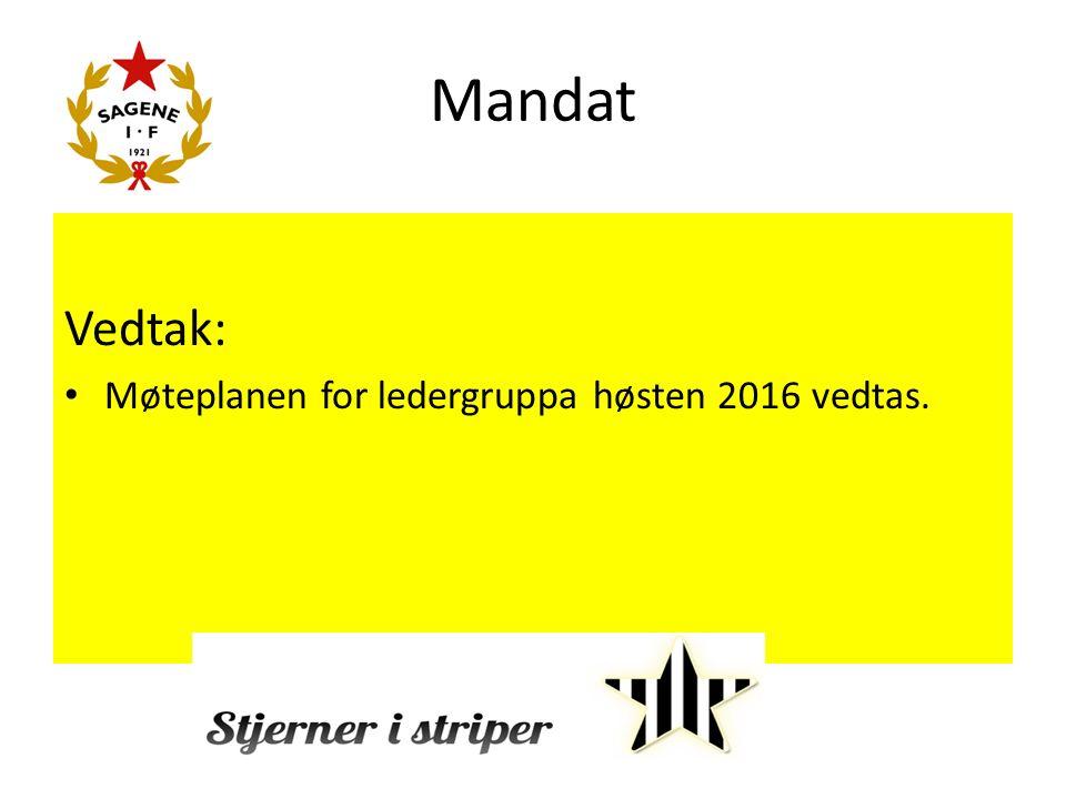 Mandat Vedtak: Møteplanen for ledergruppa høsten 2016 vedtas.