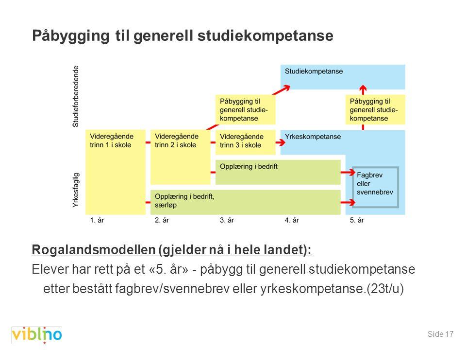 Side 17 Påbygging til generell studiekompetanse Rogalandsmodellen (gjelder nå i hele landet): Elever har rett på et «5.