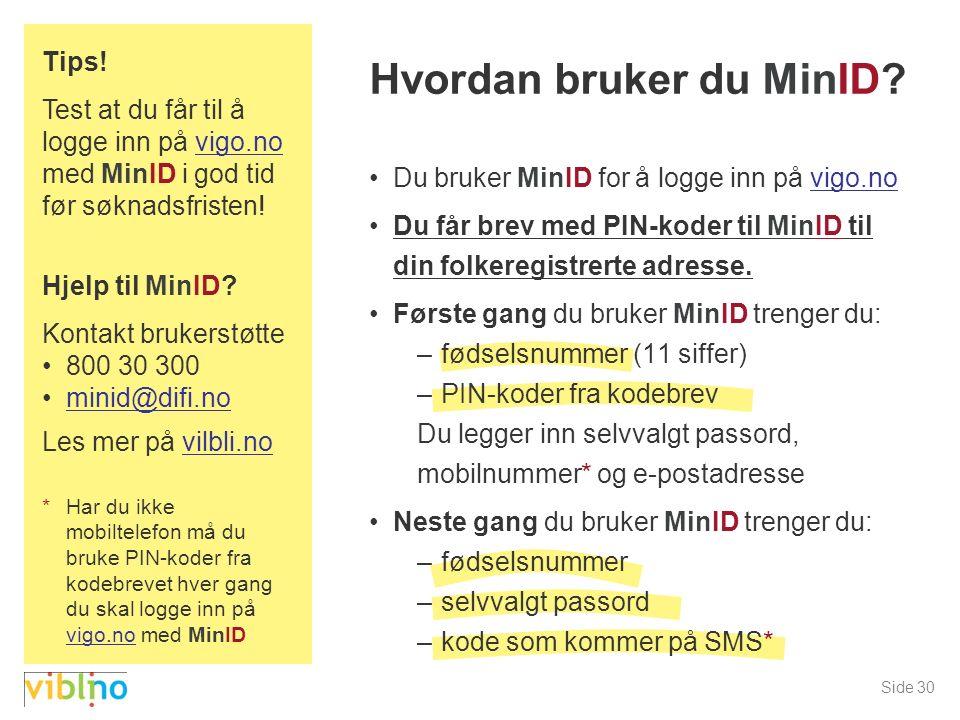 Side 30 Hvordan bruker du MinID.