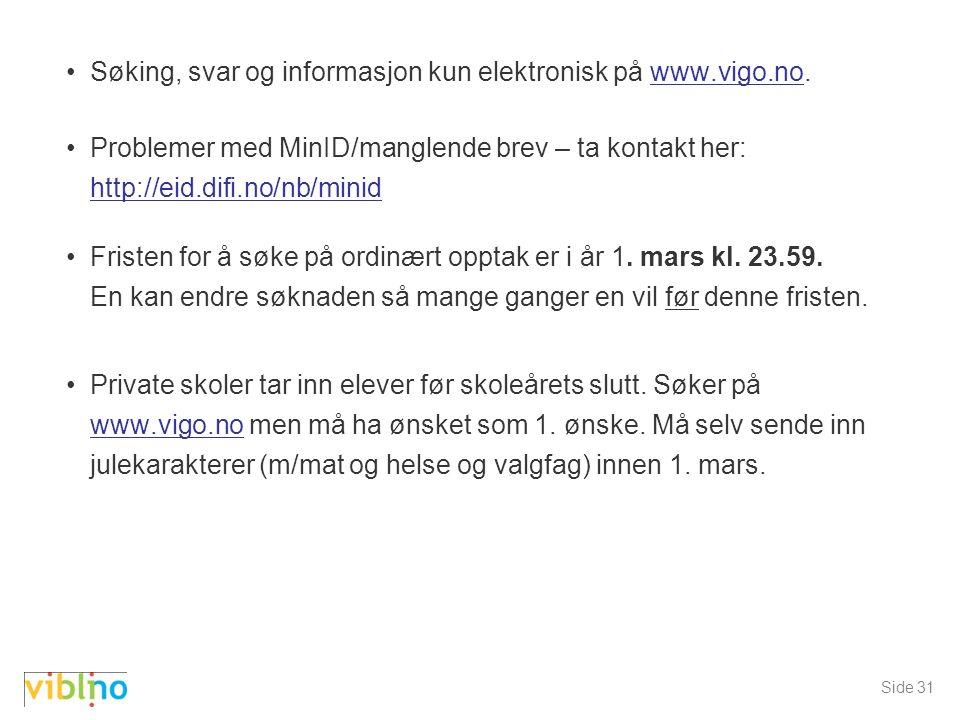 Søking, svar og informasjon kun elektronisk på www.vigo.no.www.vigo.no Problemer med MinID/manglende brev – ta kontakt her: http://eid.difi.no/nb/minid http://eid.difi.no/nb/minid Fristen for å søke på ordinært opptak er i år 1.