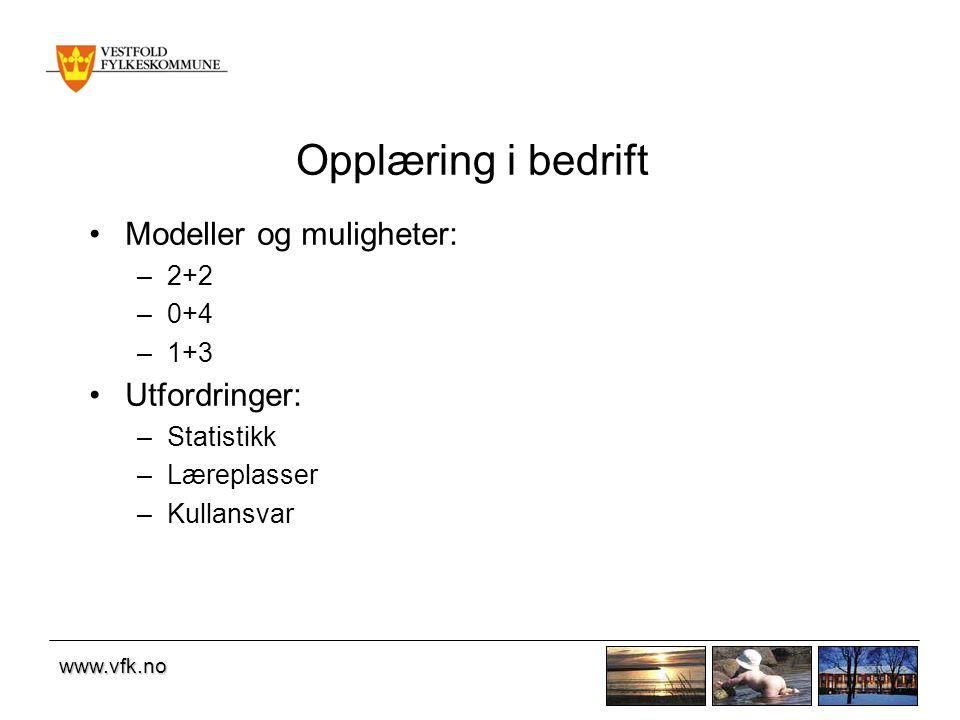 www.vfk.no Opplæring i bedrift Modeller og muligheter: –2+2 –0+4 –1+3 Utfordringer: –Statistikk –Læreplasser –Kullansvar