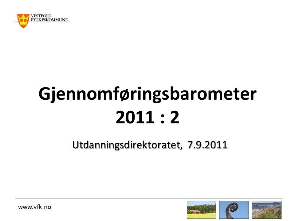 www.vfk.no Gjennomføringsbarometer 2011 : 2 Utdanningsdirektoratet, 7.9.2011
