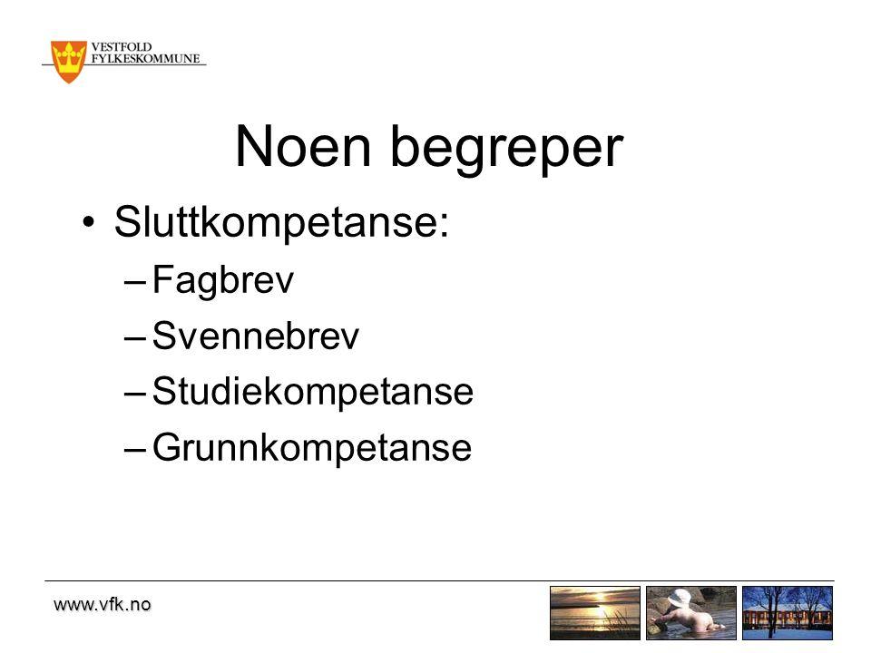 www.vfk.no Noen begreper Sluttkompetanse: –Fagbrev –Svennebrev –Studiekompetanse –Grunnkompetanse