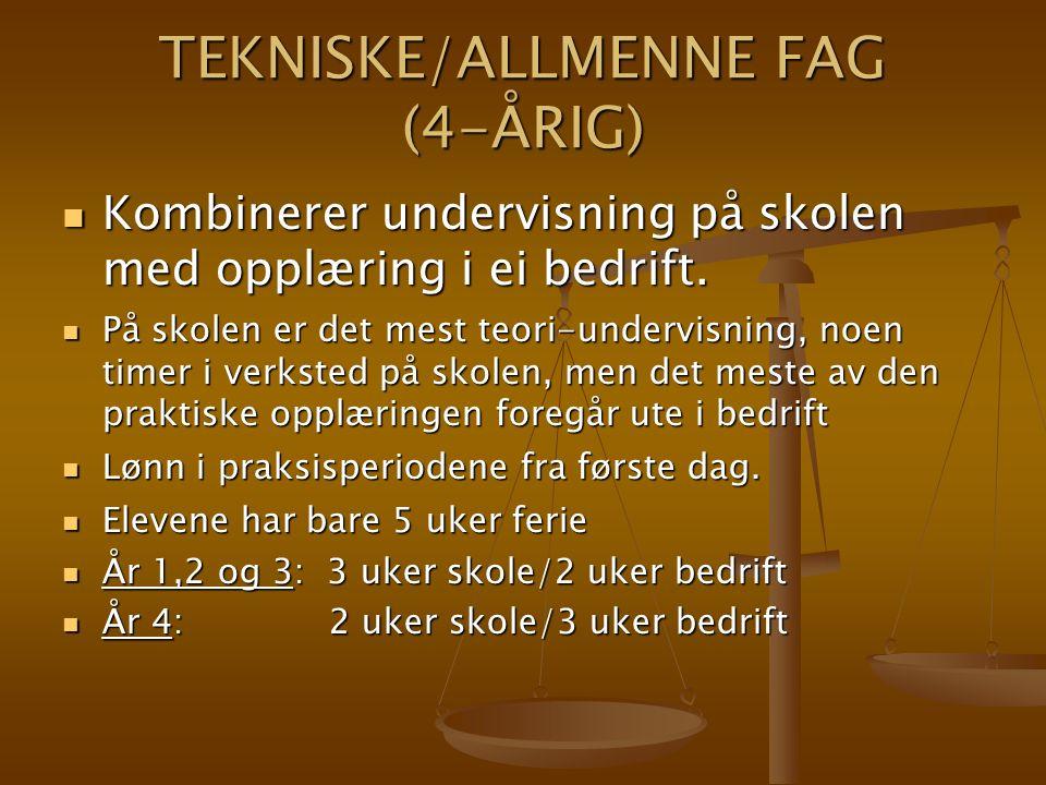 TEKNISKE/ALLMENNE FAG (4-ÅRIG) Kombinerer undervisning på skolen med opplæring i ei bedrift.
