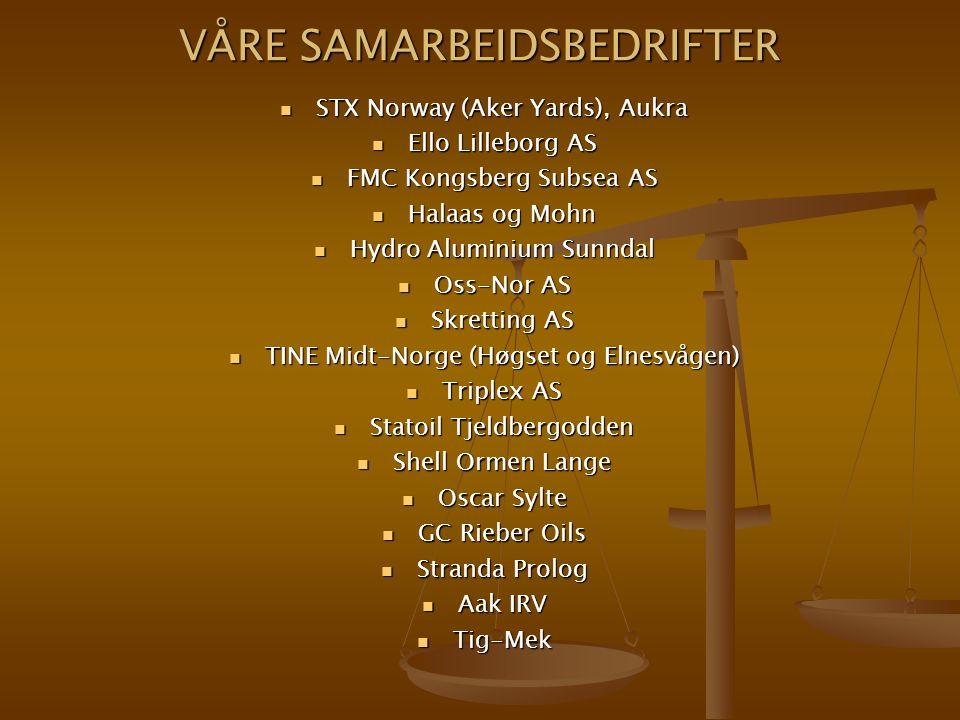 VÅRE SAMARBEIDSBEDRIFTER STX Norway (Aker Yards), Aukra STX Norway (Aker Yards), Aukra Ello Lilleborg AS Ello Lilleborg AS FMC Kongsberg Subsea AS FMC Kongsberg Subsea AS Halaas og Mohn Halaas og Mohn Hydro Aluminium Sunndal Hydro Aluminium Sunndal Oss-Nor AS Oss-Nor AS Skretting AS Skretting AS TINE Midt-Norge (Høgset og Elnesvågen) TINE Midt-Norge (Høgset og Elnesvågen) Triplex AS Triplex AS Statoil Tjeldbergodden Statoil Tjeldbergodden Shell Ormen Lange Shell Ormen Lange Oscar Sylte Oscar Sylte GC Rieber Oils GC Rieber Oils Stranda Prolog Stranda Prolog Aak IRV Aak IRV Tig-Mek Tig-Mek