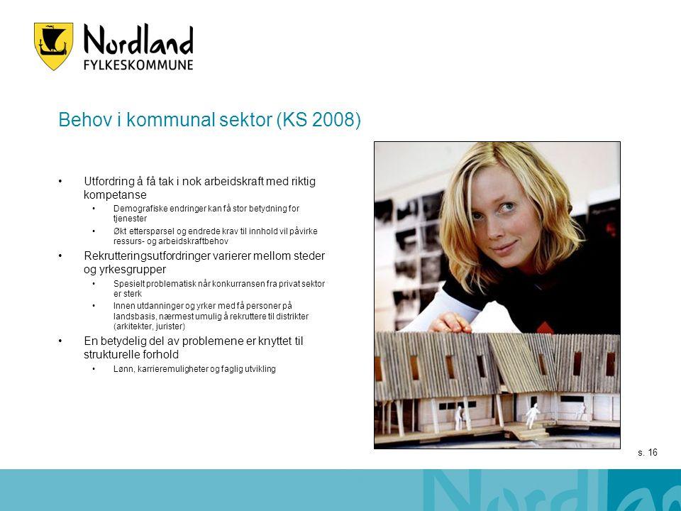 s. 16 Behov i kommunal sektor (KS 2008) Utfordring å få tak i nok arbeidskraft med riktig kompetanse Demografiske endringer kan få stor betydning for