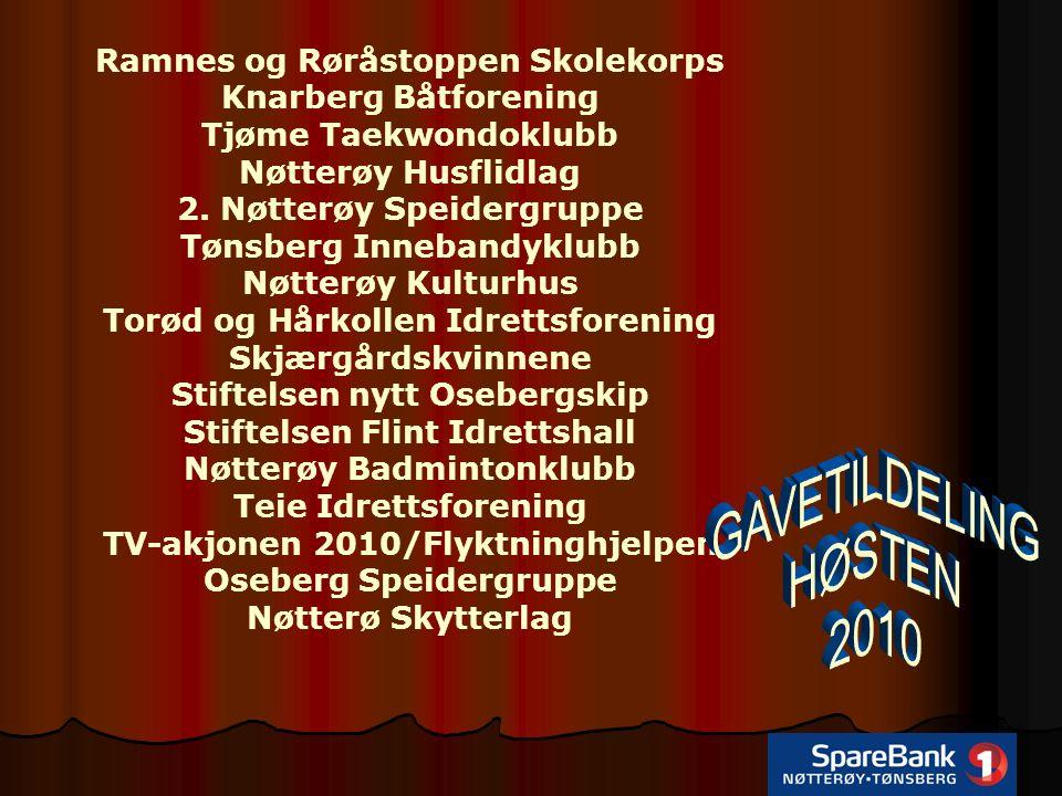Ramnes og Røråstoppen Skolekorps Knarberg Båtforening Tjøme Taekwondoklubb Nøtterøy Husflidlag 2.
