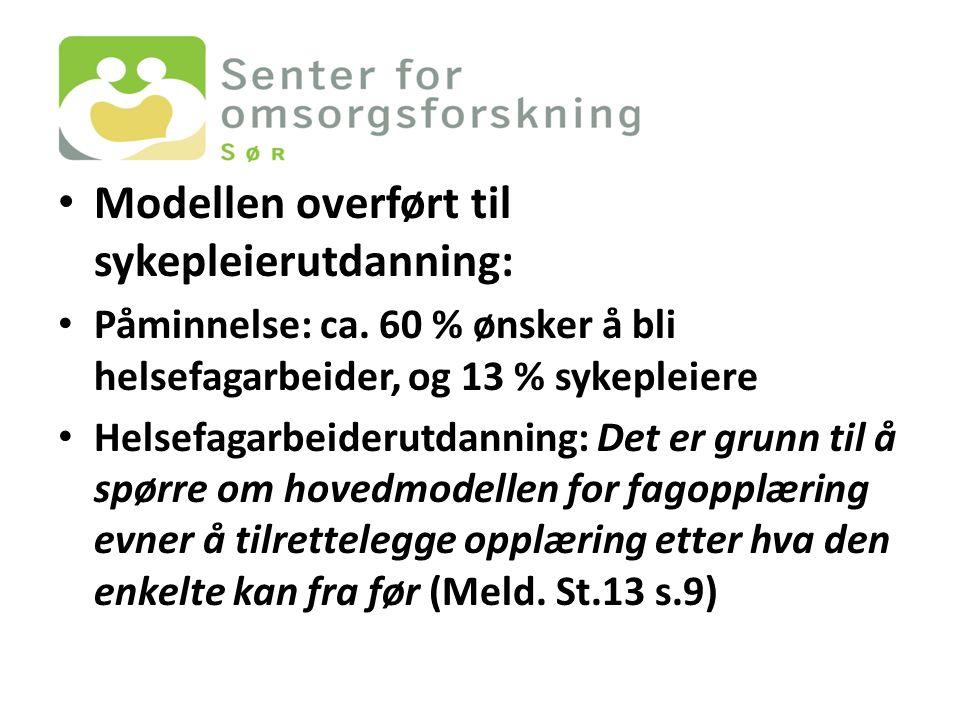 Modellen overført til sykepleierutdanning: Påminnelse: ca.