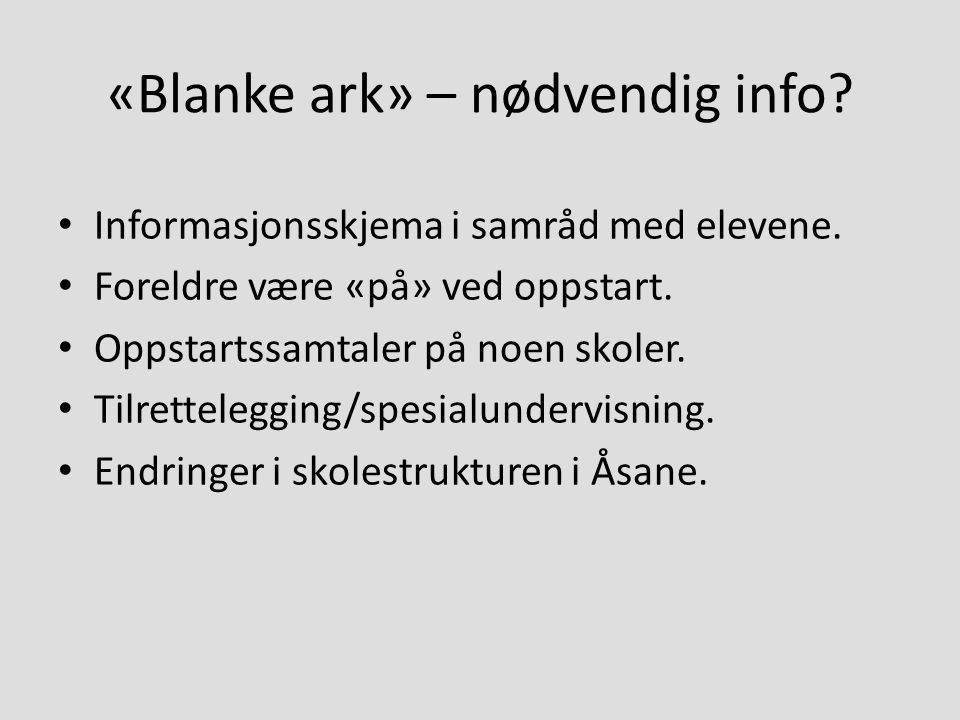«Blanke ark» – nødvendig info? Informasjonsskjema i samråd med elevene. Foreldre være «på» ved oppstart. Oppstartssamtaler på noen skoler. Tilretteleg