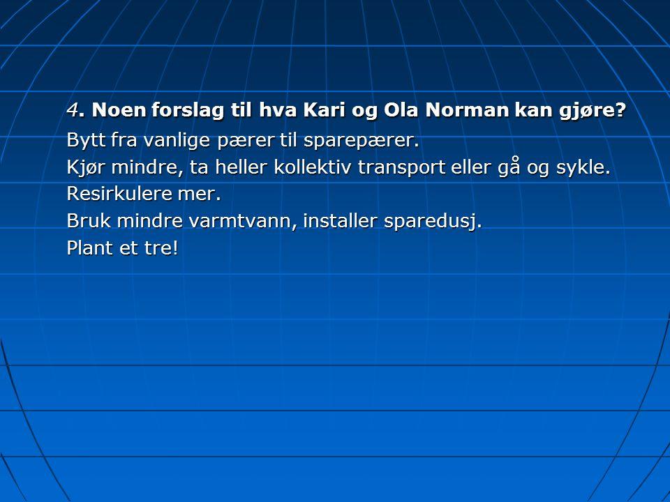 4. Noen forslag til hva Kari og Ola Norman kan gjøre? Bytt fra vanlige pærer til sparepærer. Kjør mindre, ta heller kollektiv transport eller gå og sy