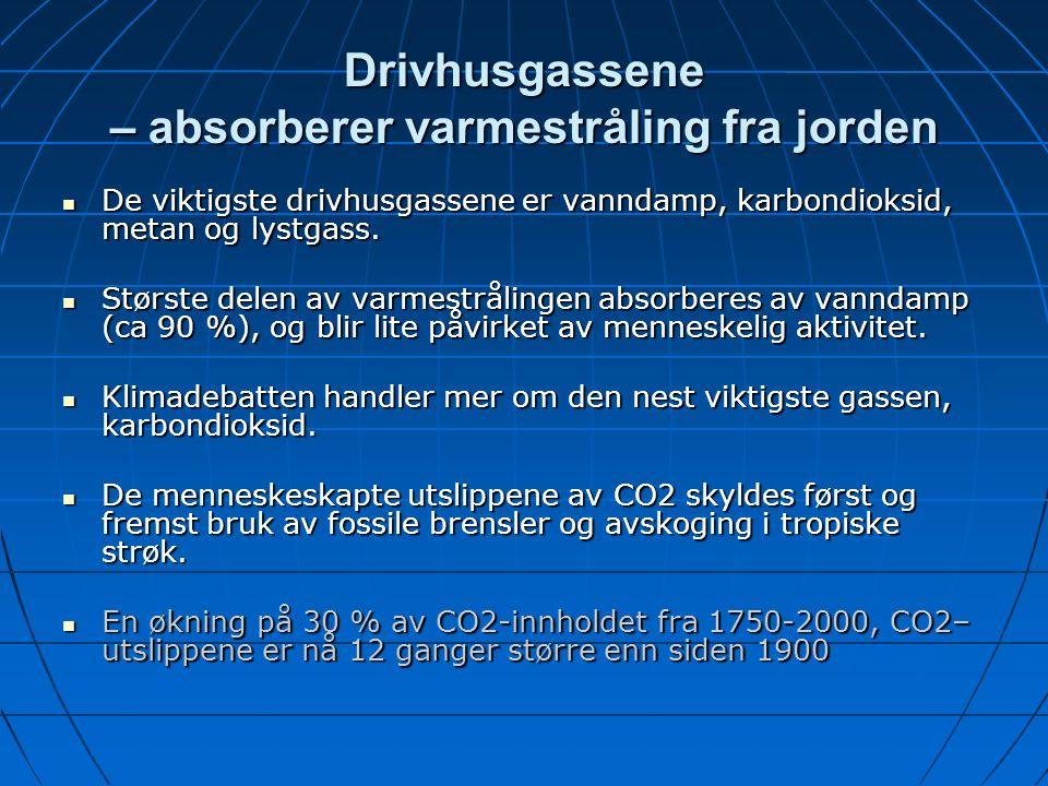Drivhusgassene – absorberer varmestråling fra jorden De viktigste drivhusgassene er vanndamp, karbondioksid, metan og lystgass. De viktigste drivhusga