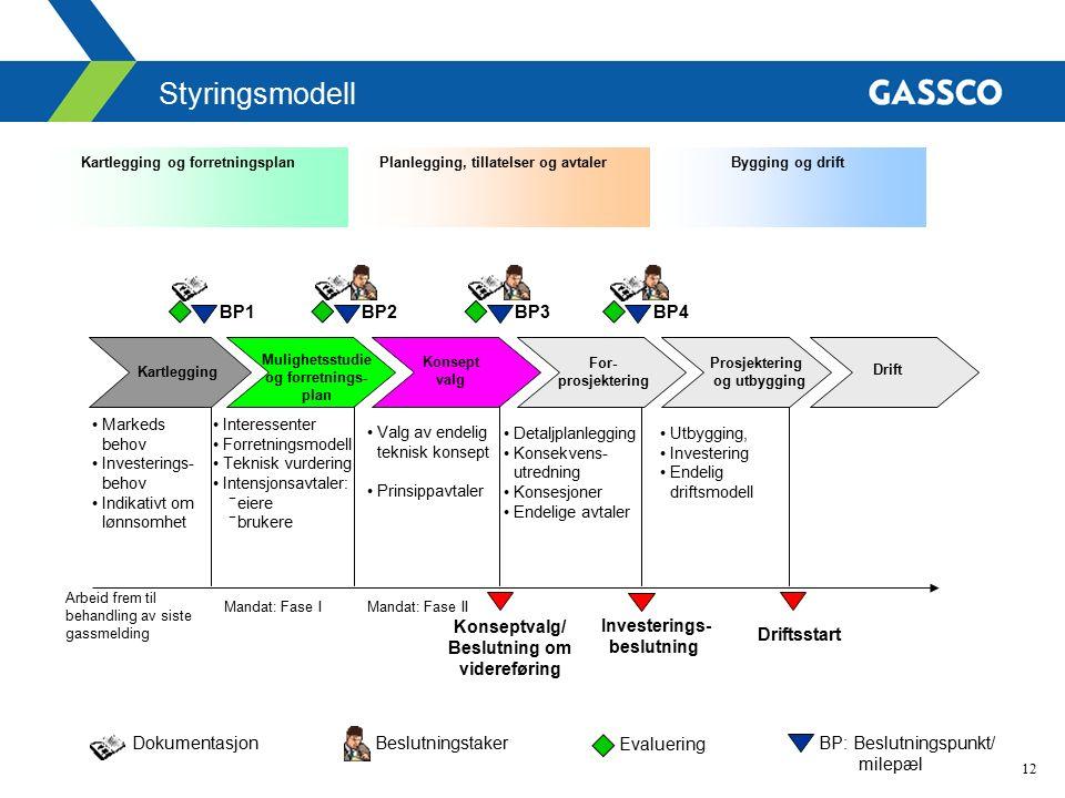 12 Styringsmodell BP: Beslutningspunkt/ milepæl Kartlegging og forretningsplanPlanlegging, tillatelser og avtalerBygging og drift BeslutningstakerDoku