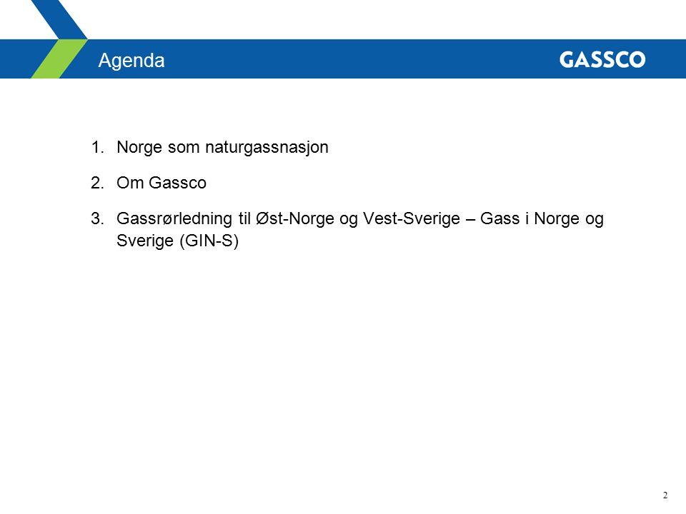 2 Agenda 1.Norge som naturgassnasjon 2.Om Gassco 3.Gassrørledning til Øst-Norge og Vest-Sverige – Gass i Norge og Sverige (GIN-S)