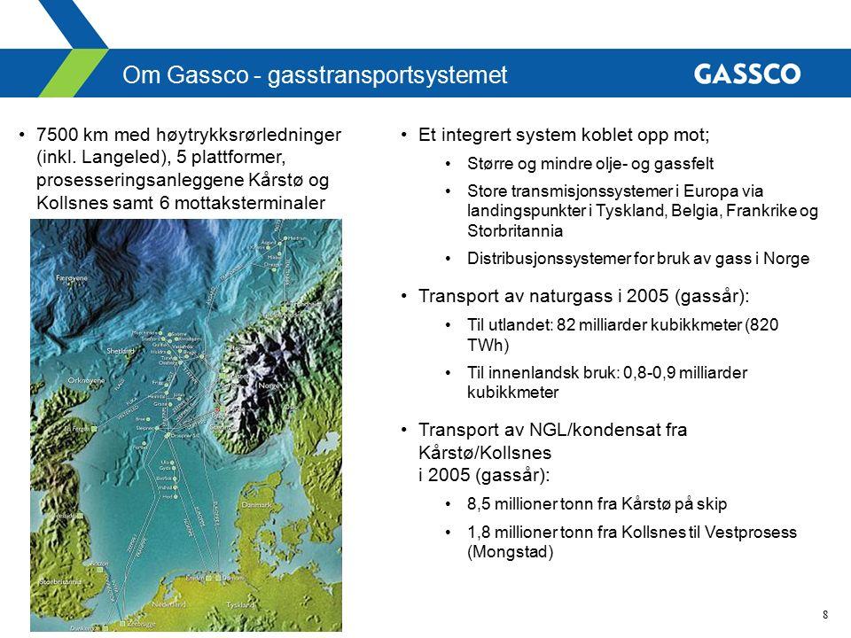 8 Et integrert system koblet opp mot; Større og mindre olje- og gassfelt Store transmisjonssystemer i Europa via landingspunkter i Tyskland, Belgia, Frankrike og Storbritannia Distribusjonssystemer for bruk av gass i Norge Transport av naturgass i 2005 (gassår): Til utlandet: 82 milliarder kubikkmeter (820 TWh) Til innenlandsk bruk: 0,8-0,9 milliarder kubikkmeter Transport av NGL/kondensat fra Kårstø/Kollsnes i 2005 (gassår): 8,5 millioner tonn fra Kårstø på skip 1,8 millioner tonn fra Kollsnes til Vestprosess (Mongstad) Om Gassco - gasstransportsystemet 7500 km med høytrykksrørledninger (inkl.