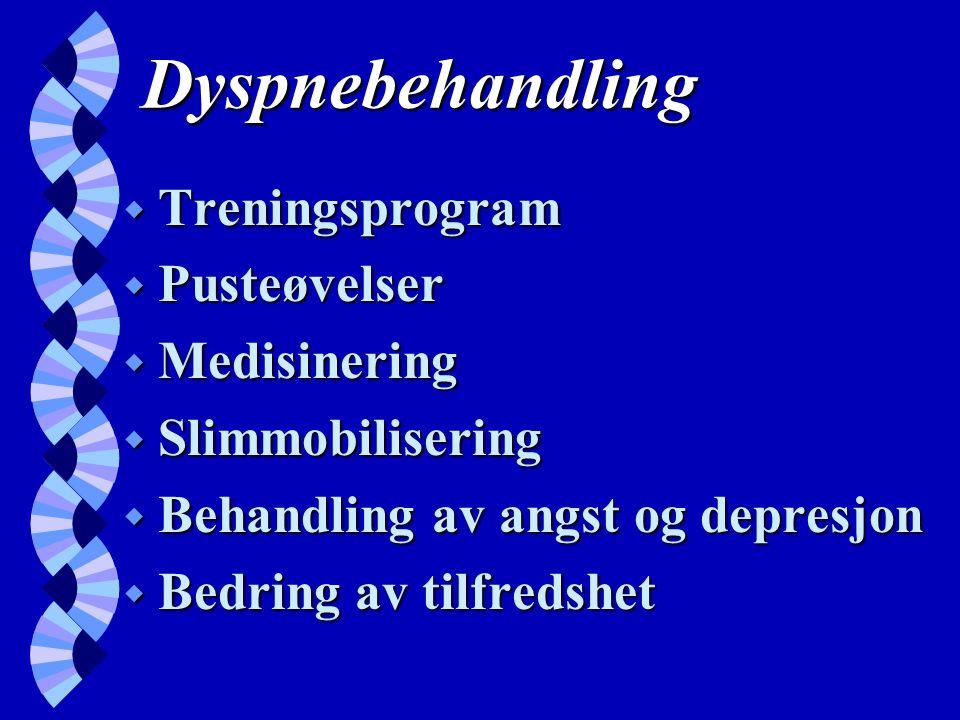 Dyspnebehandling w Treningsprogram w Pusteøvelser w Medisinering w Slimmobilisering w Behandling av angst og depresjon w Bedring av tilfredshet