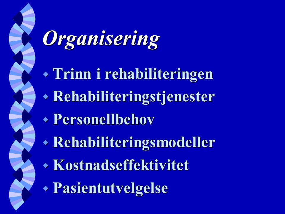 Organisering w Trinn i rehabiliteringen w Rehabiliteringstjenester w Personellbehov w Rehabiliteringsmodeller w Kostnadseffektivitet w Pasientutvelgelse