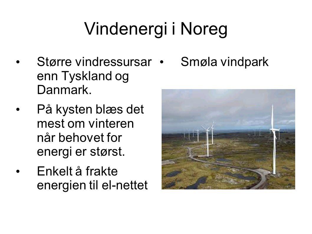 Vindenergi i Noreg Større vindressursar enn Tyskland og Danmark. På kysten blæs det mest om vinteren når behovet for energi er størst. Enkelt å frakte