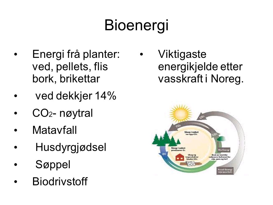 Bioenergi Energi frå planter: ved, pellets, flis bork, brikettar ved dekkjer 14% CO 2 - nøytral Matavfall Husdyrgjødsel Søppel Biodrivstoff Viktigaste energikjelde etter vasskraft i Noreg.