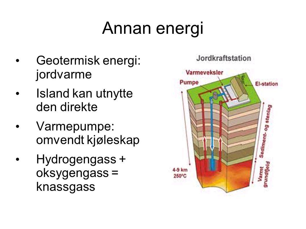 Annan energi Geotermisk energi: jordvarme Island kan utnytte den direkte Varmepumpe: omvendt kjøleskap Hydrogengass + oksygengass = knassgass