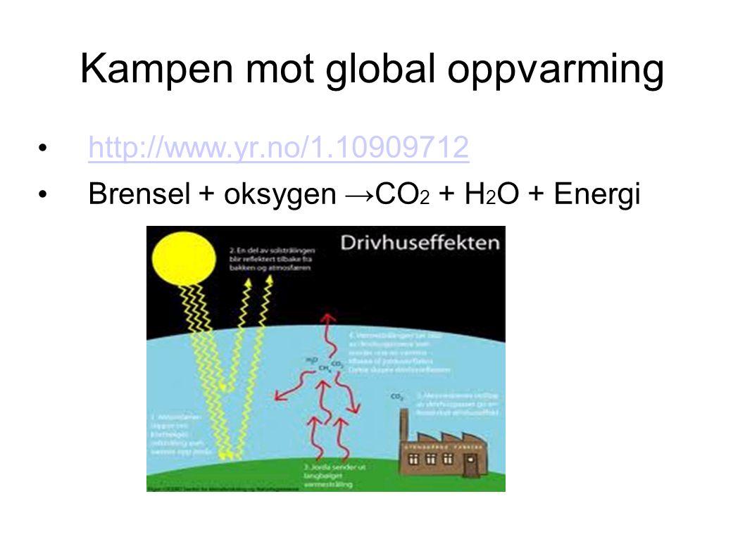 Kampen mot global oppvarming http://www.yr.no/1.10909712 Brensel + oksygen →CO 2 + H 2 O + Energi