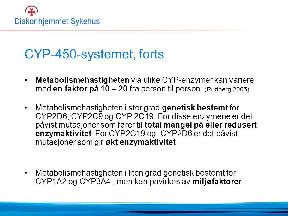 CYP-450-systemet, forts Metabolismehastigheten via ulike CYP-enzymer kan variere med en faktor på 10 – 20 fra person til person (Rudberg 2005) Metabolismehastigheten i stor grad genetisk bestemt for CYP2D6, CYP2C9 og CYP 2C19.